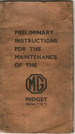 Original MG TC Maintenance Instruction Booklet