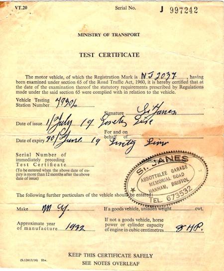 The MoT (Ministry Of Transport Test Certificate)